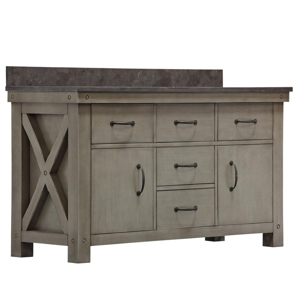 Water Creation Aberdeen 60 in. W x 34 in. H Vanity in Gray with Granite Vanity Top in Limestone with White Basins Mirror Faucets