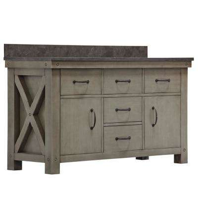 Aberdeen 60 in. W x 34 in. H Vanity in Gray with Granite Vanity Top in Limestone with White Basins Mirror Faucets