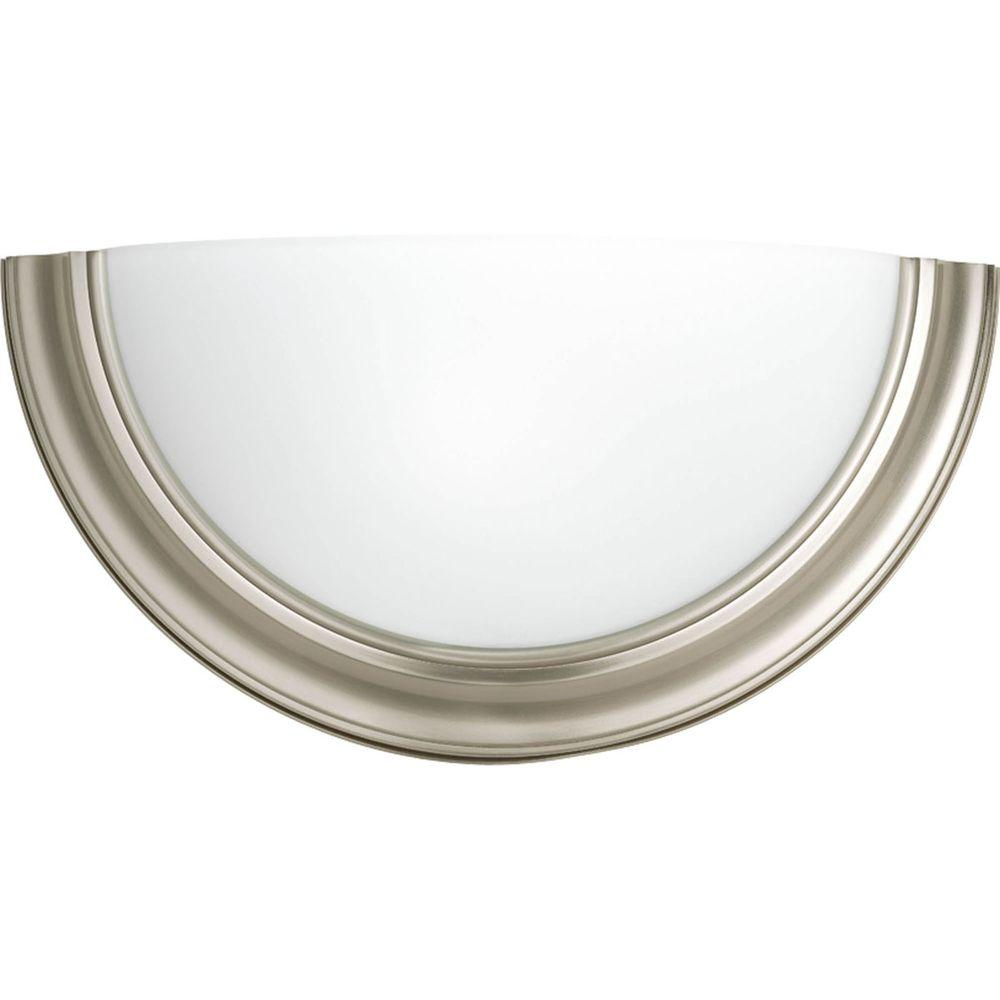 Eclipse Collection 1 Light Brushed Nickel Wall Sconce With Satin White Glass