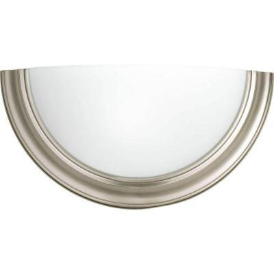 Eclipse 1-Light Brushed Nickel Wall Sconce with Satin White Glass