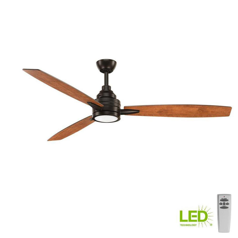 Progress Lighting Gaze Collection 60 In Led Indoor Antique Bronze Ceiling Fan With Light