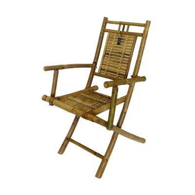 24 in. L x 22 in. W x 37 in. H Bamboo Folding Arm Chair (Set of 2)