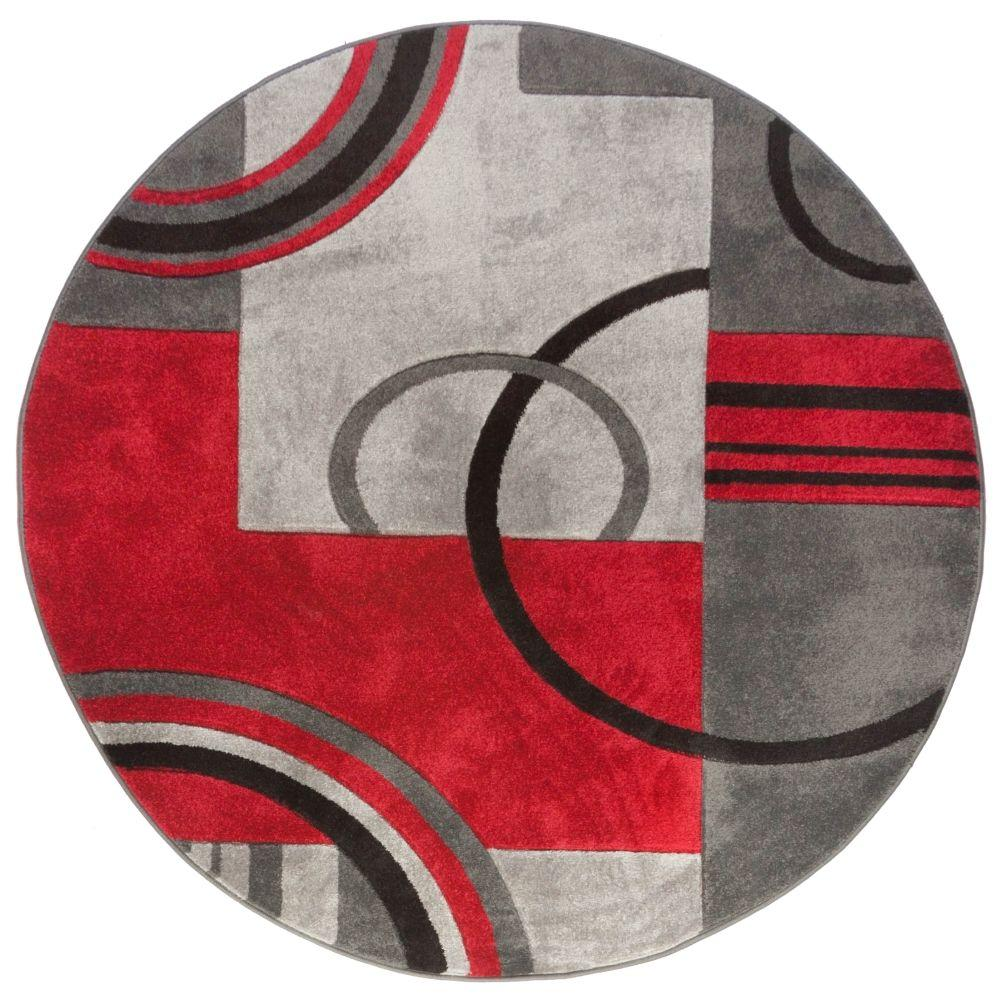 Well Woven Ruby Galaxy Waves Greyred 5 Ft X 5 Ft Round Modern
