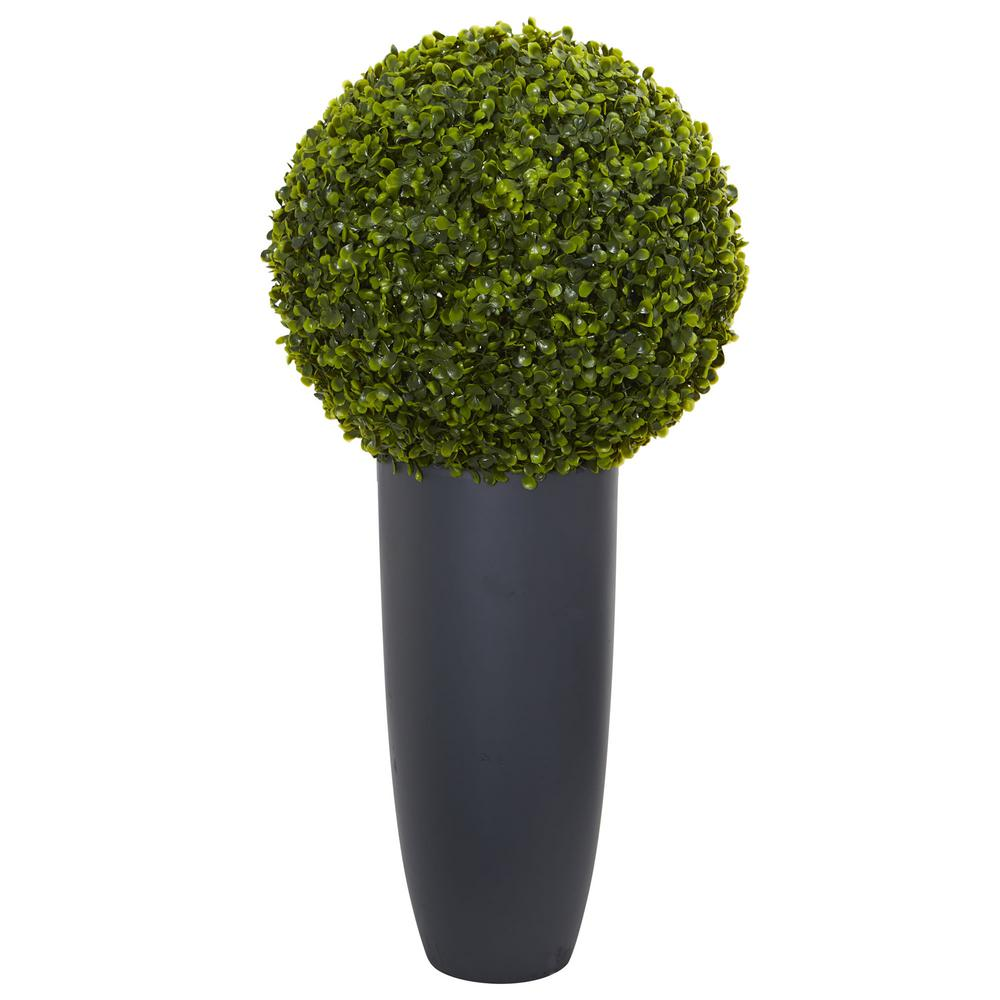 Indoor Outdoor Boxwood Artificial Topiary Plant In Gray Cylinder Planter