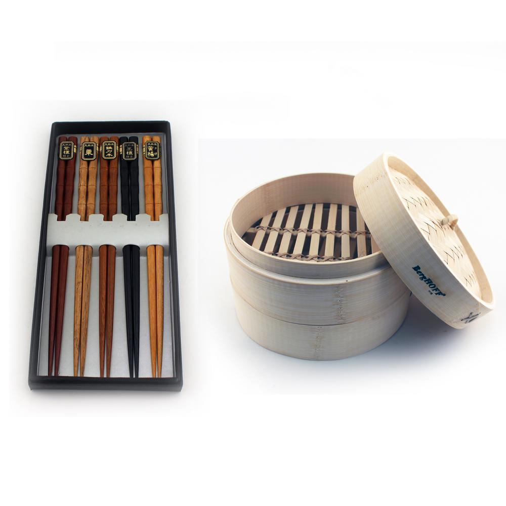 Bamboo 11-Piece Steamer Set with Chopsticks