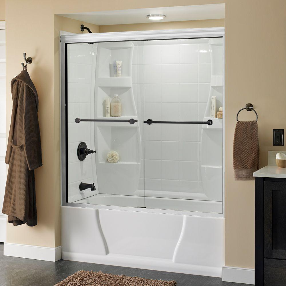 Lyndall 60 in. x 58-1/8 in. Semi-Frameless Sliding Bathtub Door in