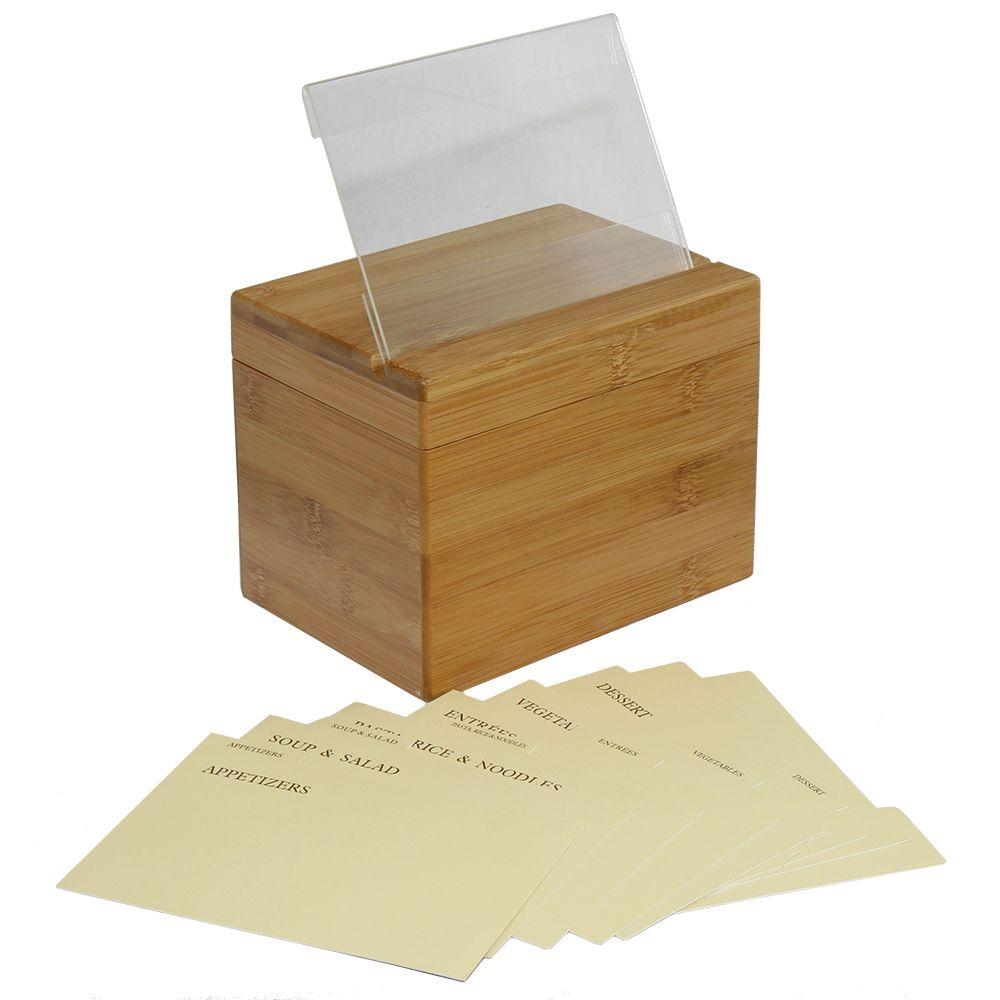 Decorative Recipe Box 2: Oceanstar Bamboo Recipe Box With Divider-RB1408