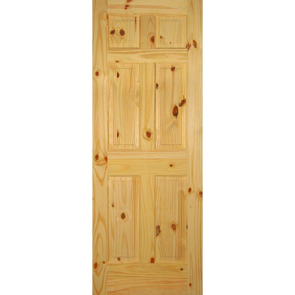 Builders Choice 28 In X 80 In 6 Panel Solid Core Knotty Pine Single Prehung Interior Door