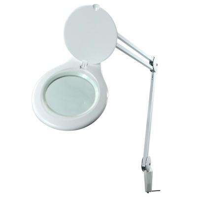 45 in. Magnifying White Desk Lamp with Clamp Mount, Energy-Efficient LEDs, Dimmable, 4.5-Watt, 480-Lumen