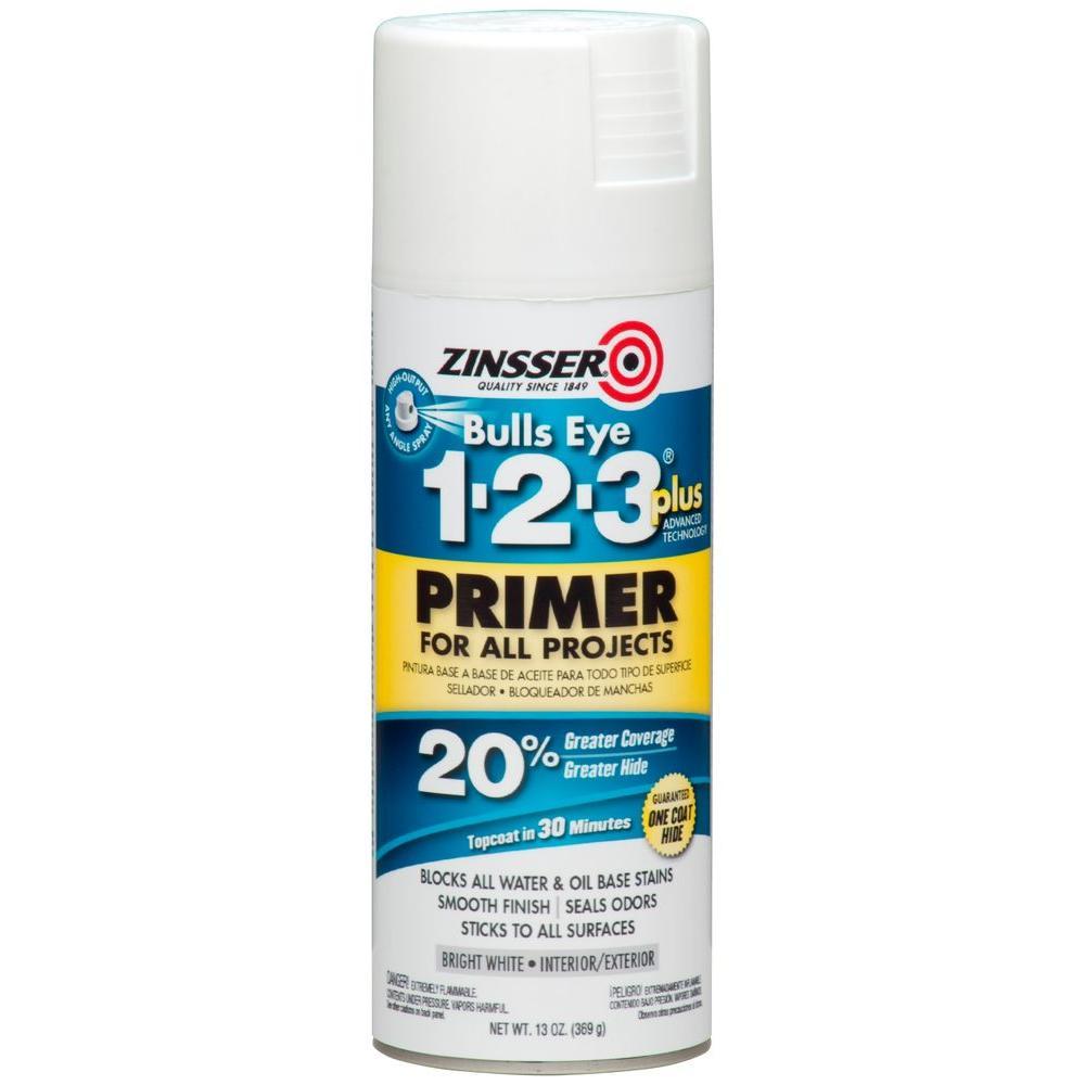 Bulls Eye 1-2-3 Plus 13 oz. White Interior/Exterior Primer Spray