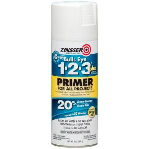 Bulls Eye 1-2-3 Plus 13 oz. White Interior/Exterior Primer Spray