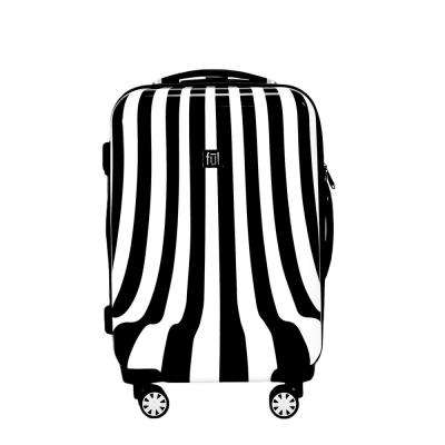White Swirl 20 in. Black and White Stripe Hard-sided Spinner Luggage