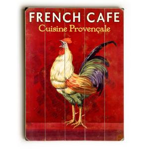 """30 in. x 40 in. """"French Caf Rooster by Posters Please """"Planked Wood"""" Wall Art"""