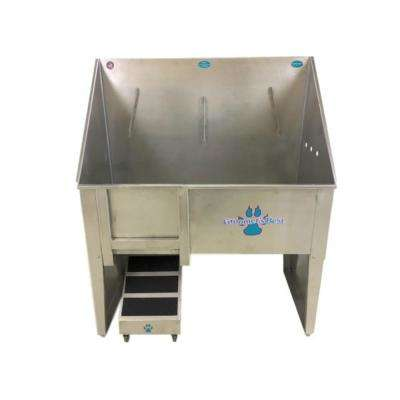 Walk-Through 48 in. x 24 in. x 58 in. Stainless Steel Grooming Tub/Utility Sink Right Drain