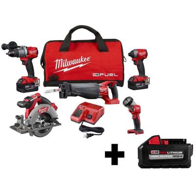 M18 FUEL 18-Volt Lithium-Ion Brushless Cordless Combo Kit (5-Tool) with Bonus XC 8.0Ah HIGH OUTPUT Battery