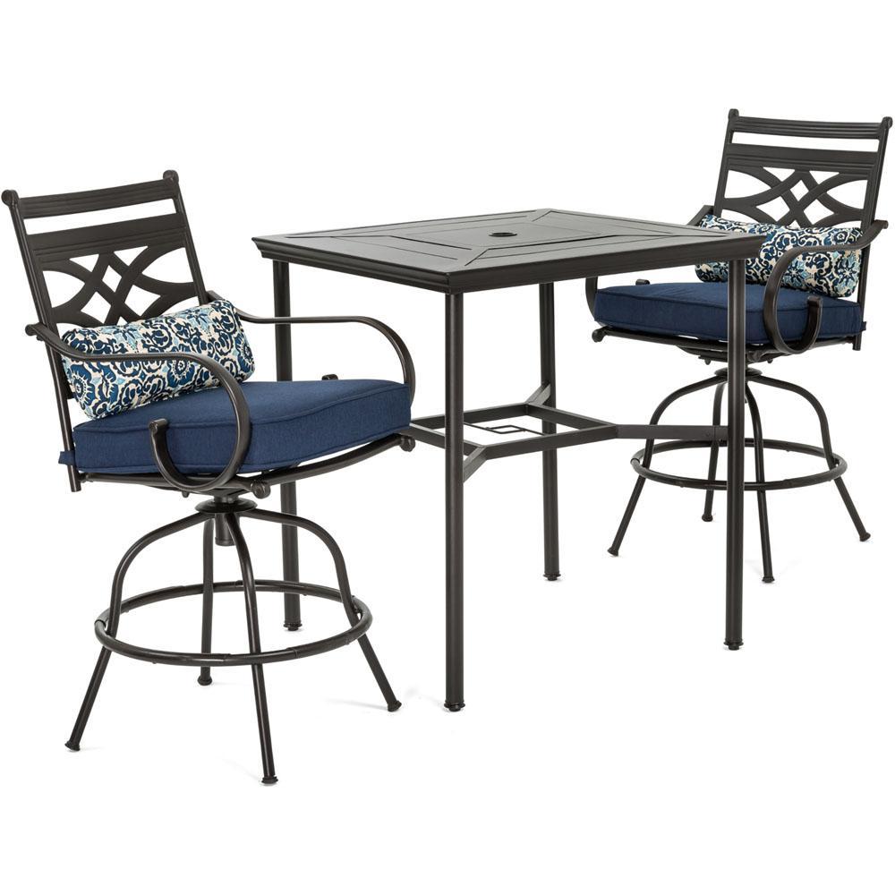 Bar Dining Table Set: Hanover Montclair 3-Piece Metal Outdoor Bar Height Dining