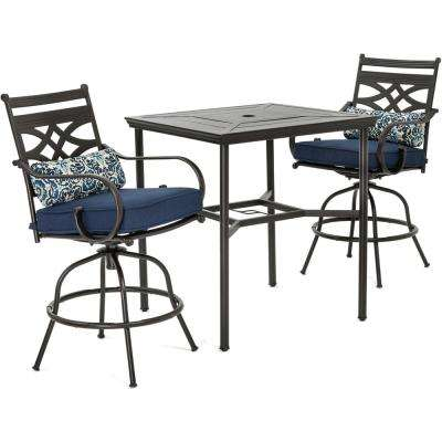 Montclair 3-Piece Metal Outdoor Bar Height Dining Set with Navy Blue Cushions, Swivel Rockers and Table