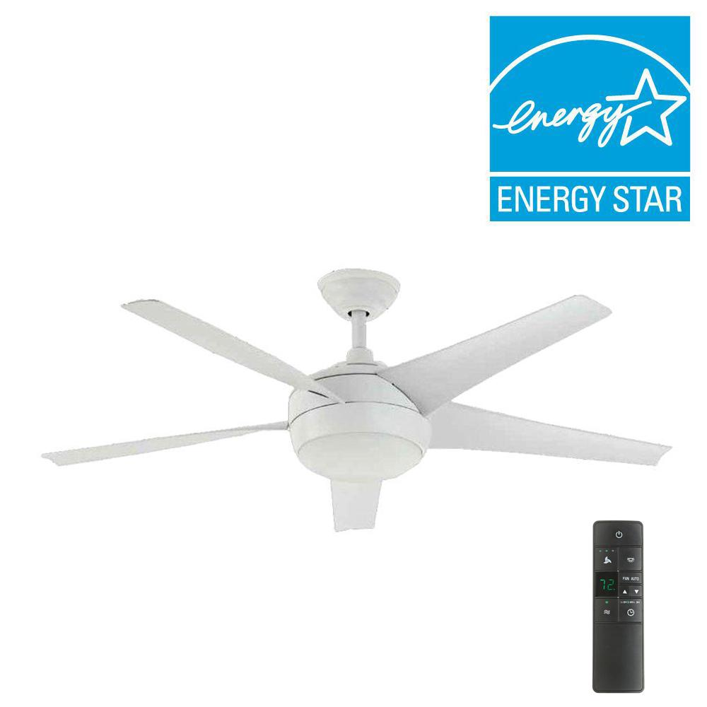Home Decorators Collection Windward IV 52 in. LED Indoor Matte White Ceiling Fan with Light Kit and Remote Control
