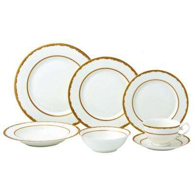28-Piece Gold Dinnerware Set-New Bone China Service for 4-People-Sonia