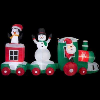 11 ft. Lighted Inflatable Car Train Scene