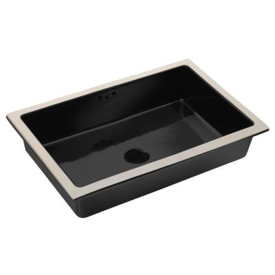 Kathryn Vitreous China Undermount Bathroom Sink with Glazed Underside in Black with Overflow Drain