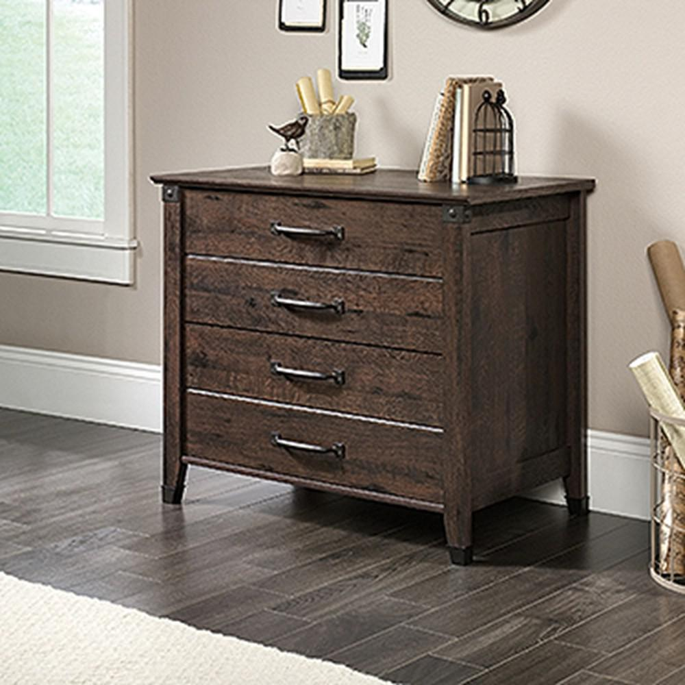 Attirant SAUDER Carson Forge Coffee Oak Lateral File Cabinet With 2 Drawers