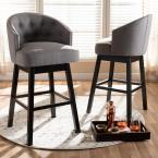 Baxton Studio Theron 42 in. Gray and Espresso Bar Stool (Set of 2)