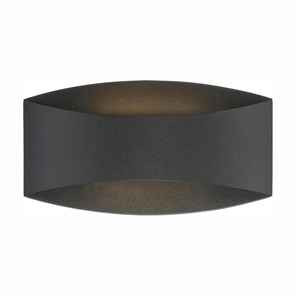 Home Decorators Collection Home Decorators Collection Greeleyville 2-Light Sand Black Outdoor Integrated LED Wall Lantern Sconce with Etched Glass