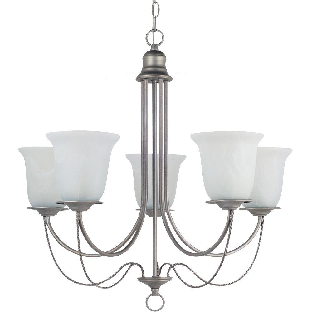 Sea Gull Lighting Plymouth 5-Light Weathered Pewter Chandelier