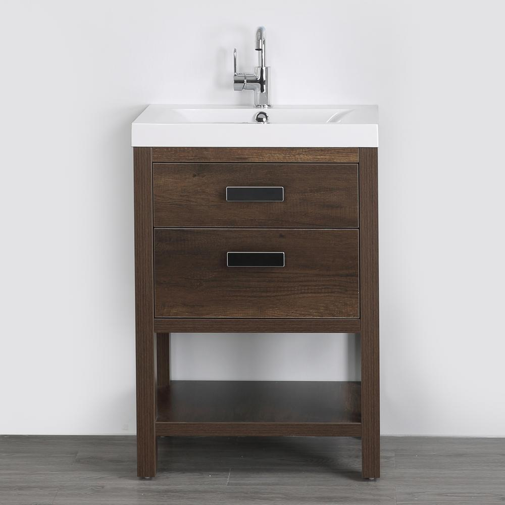 Streamline 23.6 in. W x 32.4 in. H Bath Vanity in Brown with Resin Vanity Top in White with White Basin