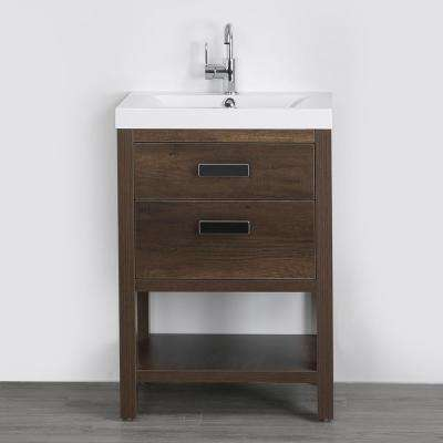 23.6 in. W x 32.4 in. H Bath Vanity in Brown with Resin Vanity Top in White with White Basin