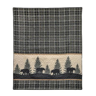 Bear Walk Plaid Green Microfiber Throw