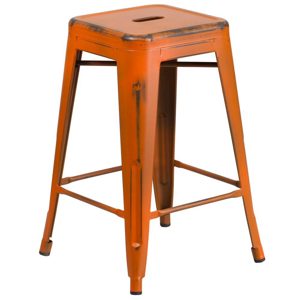 Flash Furniture 24 In Distressed Orange Bar Stool