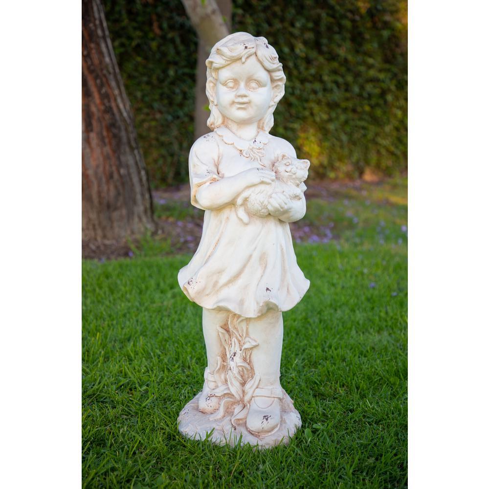 Girl Holding Kitten Cream Garden Statue
