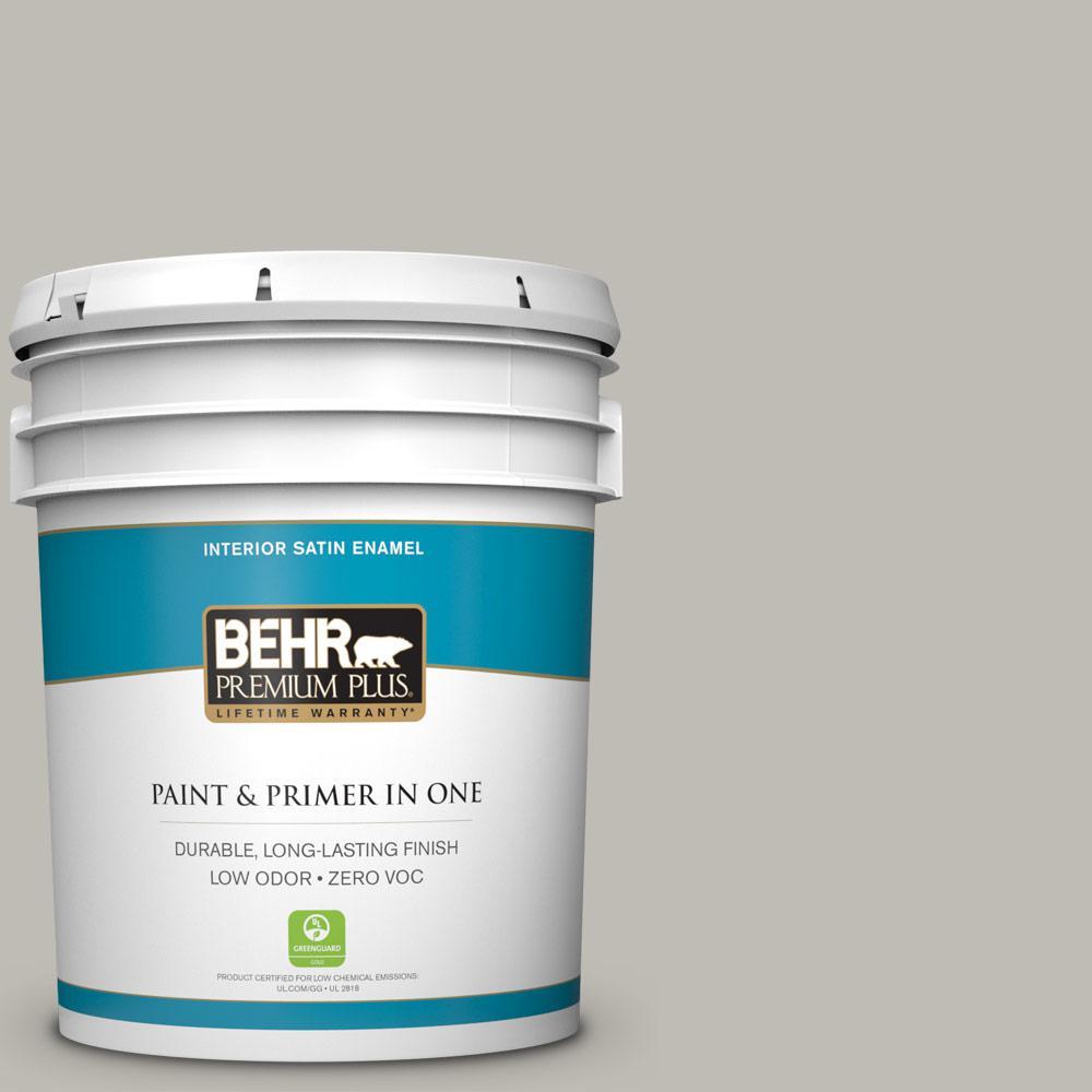 Behr Premium Plus 5 Gal Mq6 23 Pumice Satin Enamel Zero Voc Interior Paint And Primer In One
