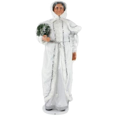 58 in. Christmas Dancing Mrs. Claus in Hooded Cloak with Mini Christmas Tree and Gift