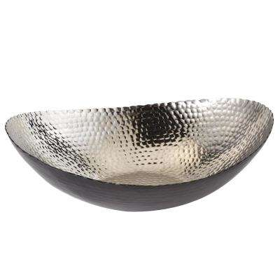 14.75 in. by 11 in. Hammered Large Oval Bowl in Black and Silver