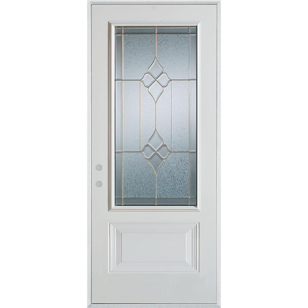 Stanley Doors 33.375 in. x 82.375 in. Geometric Brass 3/4 Lite 1-Panel Painted White Right-Hand Inswing Steel Prehung Front Door
