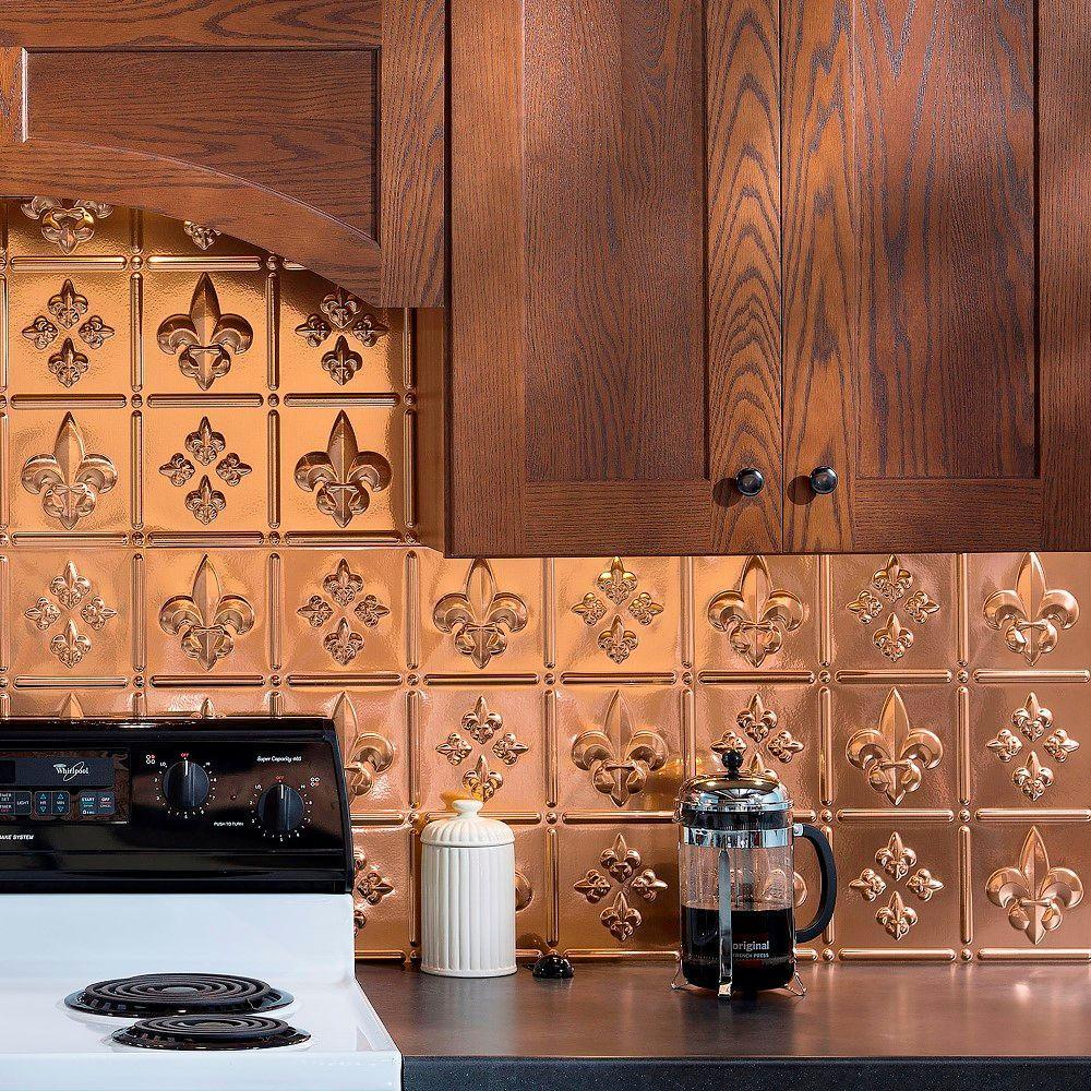 24 in. x 18 in. Fleur de Lis PVC Decorative Tile