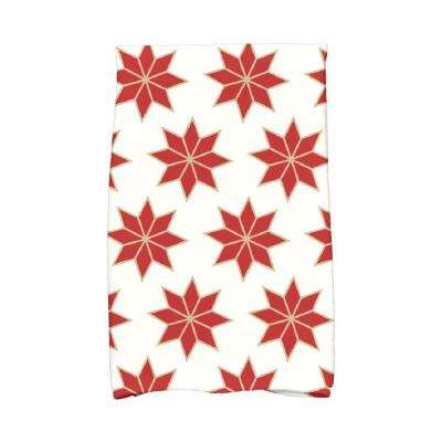16 in. x 25 in. Red Christmas Stars-2 Holiday Geometric Print Kitchen Towel