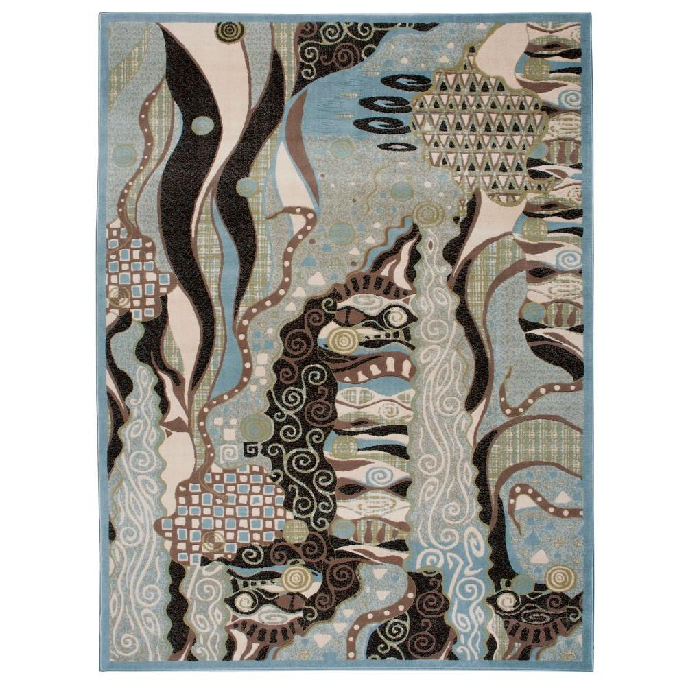 Nourison Overstock Modesto Pizzaz Blue 7 ft. 10 in. x 10 ft. 6 in. Area Rug