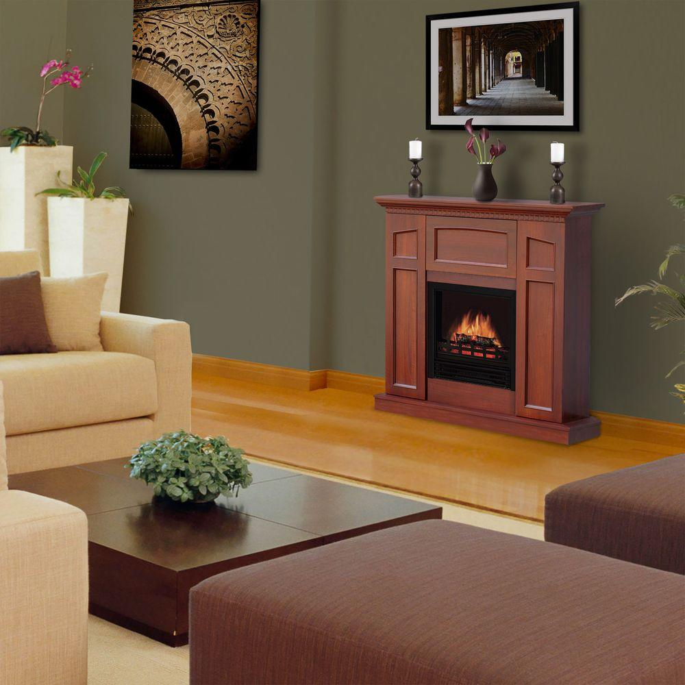 Quality Craft 36 in. Convertible Electric Fireplace in Medium Cherry
