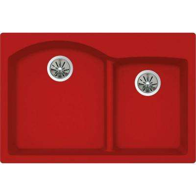 Quartz Luxe Drop-In/Undermount Composite 33 in. Rounded Offset Double Bowl Kitchen Sink in Maraschino