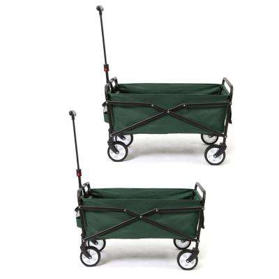 150 lbs. Capacity Heavy-Duty Compact Folding Utility Cart in Green (2-Pack)