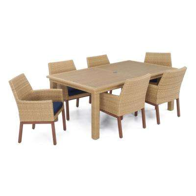 Mili 7-Piece Wicker Outdoor Dining Set with Sunbrella Navy Blue Cushions