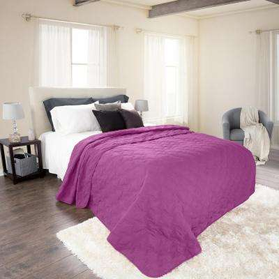 Classic Purple Polyester Twin Quilt