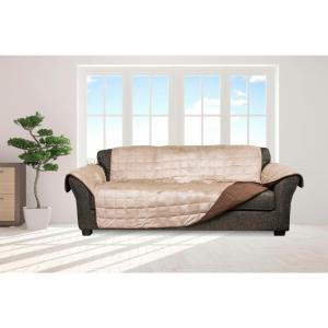 Joseph Chocolate and Taupe Flannel Reversible Waterproof Microfiber Sofa Cover