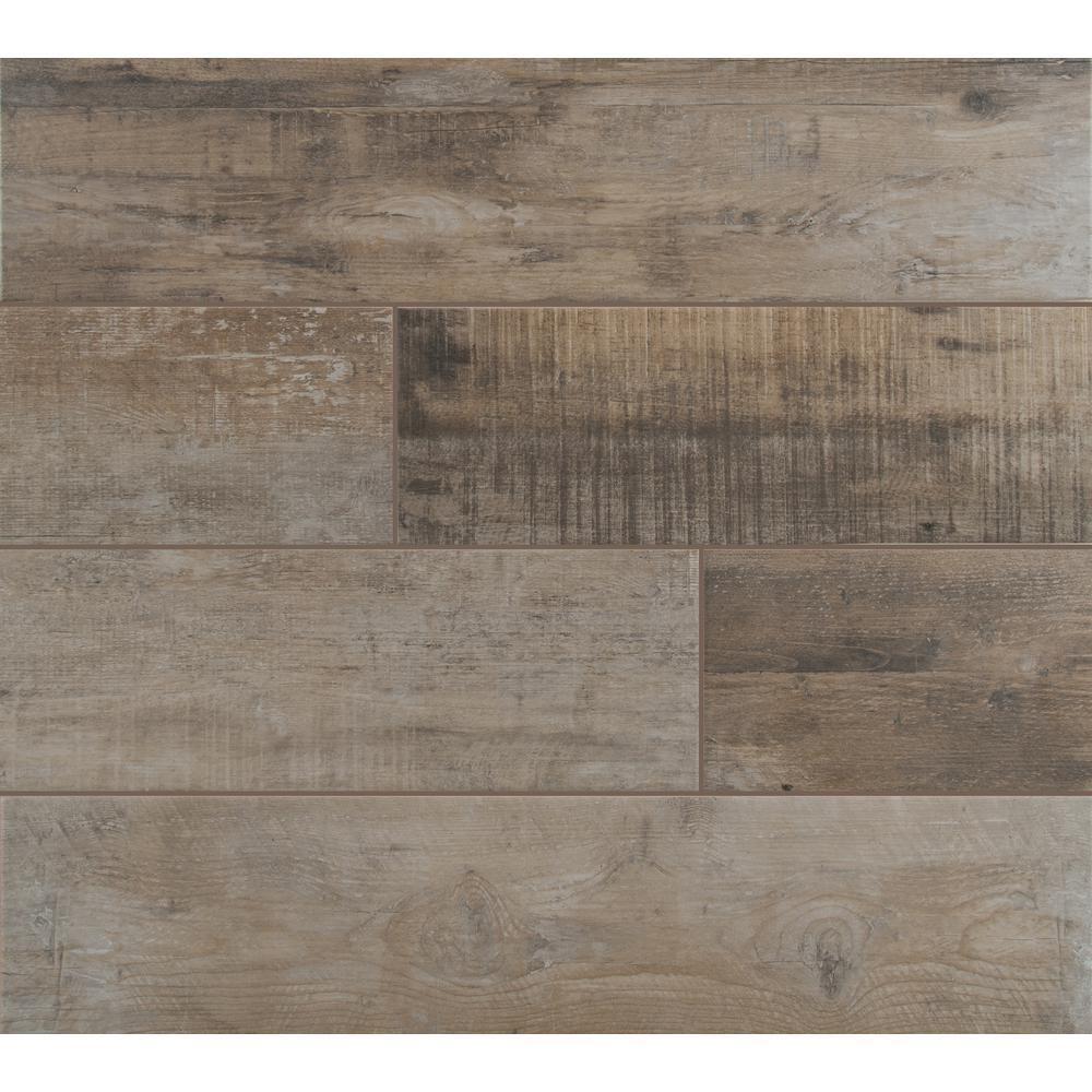Barnwood Cognac 8 in. x 36 in. Matte Porcelain Floor and Wall Tile (14 sq. ft. / case)