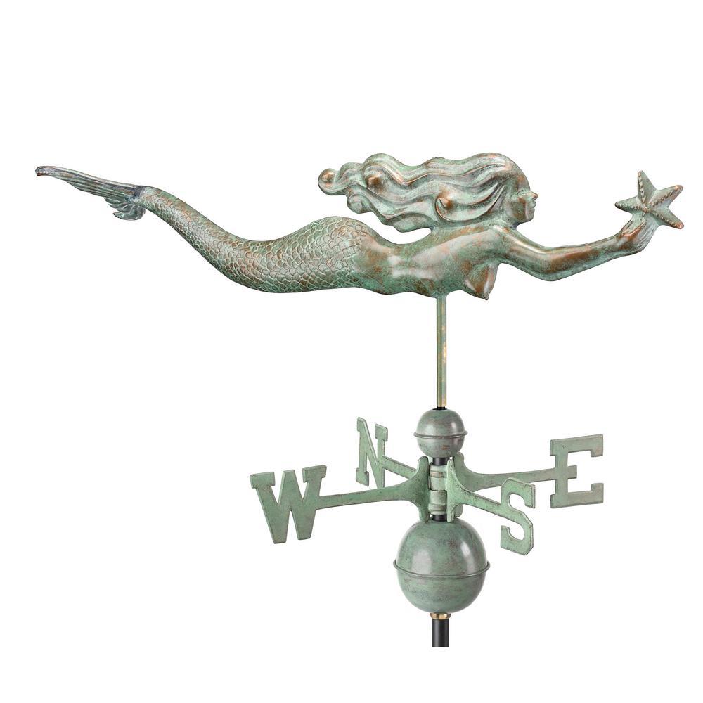 Mermaid with Starfish Weathervane - Blue Verde Copper
