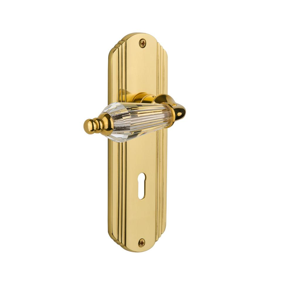 Deco Plate Interior Mortise Parlor Lever in Unlacquered Brass